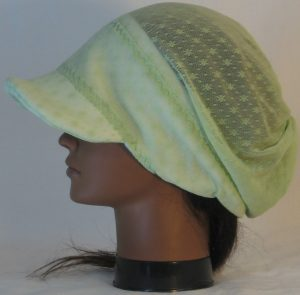 Slouchy Beanie in Small Flower Dot Green Lace on White Fleece - right