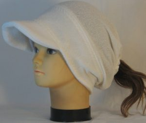 Slouchy Beanie in White Light Fuzzy Sweater Knit - left front