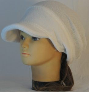 Slouchy Beanie in White Light Fuzzy Sweater Knit - left front 2