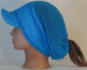 Slouchy Beanie in Small Flower Dot Turquoise Lace on White Fleece - right