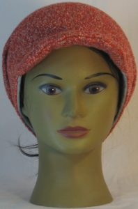 Slouchy Beanie in Orange with Green Blue Gray Sweater Knit - front