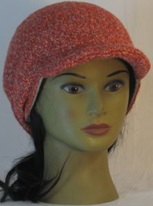 Slouchy Beanie in Orange with Green Blue Gray Sweater Knit - front right