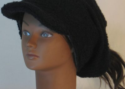 Slouchy Beanie in Black Boucle Stretch Wool Knit - front left