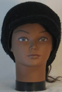 Slouchy Beanie in Black Boucle Stretch Wool Knit - front