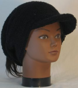 Slouchy Beanie in Black Boucle Stretch Wool Knit - front right