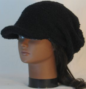 Slouchy Beanie in Black Boucle Stretch Wool Knit - front left 2