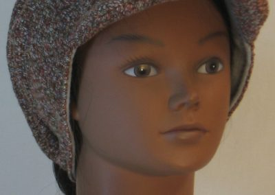Slouchy Beanie in Brown with Green Blue Gray Sweater Knit - front right
