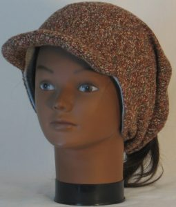 Slouchy Beanie in Brown with Green Blue Gray Sweater Knit - front