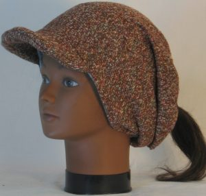 Slouchy Beanie in Brown with Green Blue Gray Sweater Knit - left