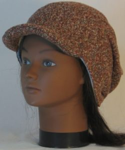 Slouchy Beanie in Brown with Green Blue Gray Sweater Knit - front left