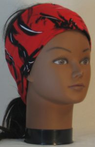 Headband in Black with White Leave Branch Marks on Red - right