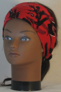 Headband in Black with White Leave Branch Marks on Red - front