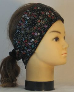 Headband in Red Green Cream Flowers with Circles on Black with Gold - right