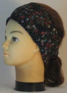 Headband in Red Green Cream Flowers with Circles on Black with Gold - left