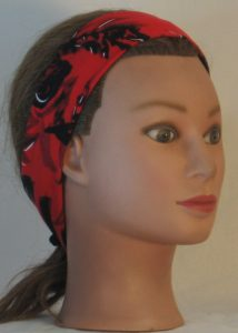 Headband in Black with White Leave Branch Marks on Red in narrow - right