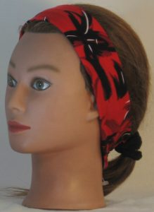 Headband in Black with White Leave Branch Marks on Red in narrow - left