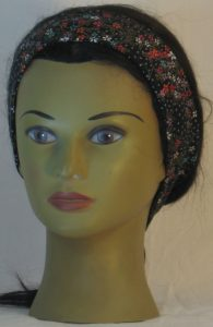 Headband in Red Green Cream Flowers with Circles on Black with Gold in Narrow - front
