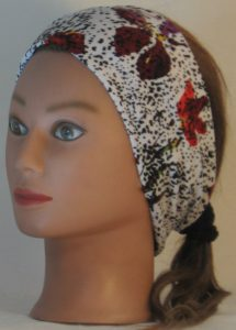 Headband in Red Purple Yellow Flowers and Dashes on Cream - left