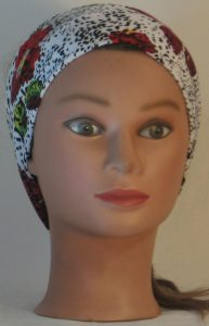 Headband in Red Purple Yellow Flowers and Dashes on Cream - front
