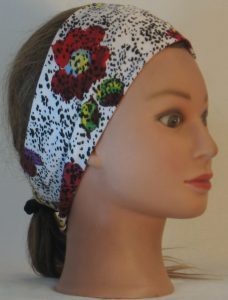 Headband in Red Purple Yellow Flowers and Dashes on Cream - right
