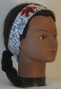 Headband in Red Purple Yellow Flowers and Dashes on Cream in Narrow - right