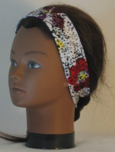 Headband in Red Purple Yellow Flowers and Dashes on Cream in Narrow - left