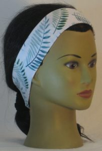 Headband in Green Palm Branches on White in Narrow - front right