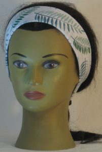 Headband in Green Palm Branches on White in Narrow - front