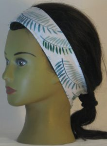 Headband in Green Palm Branches on White in Narrow - left