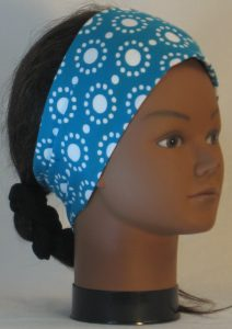 Headband in White Circle Dots on Turquoise - right