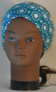 Headband in White Circle Dots on Turquoise - front