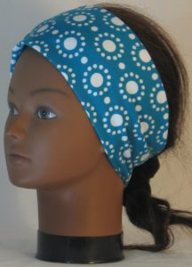 Headband in White Circle Dots on Turquoise - left