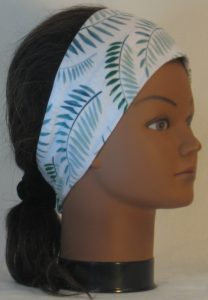 Headband in Green Palm Branches on White - right