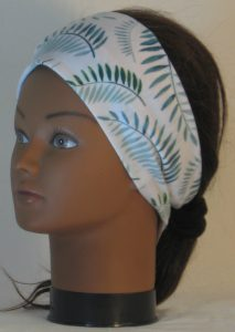 Headband in Green Palm Branches on White - left