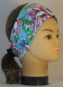 Headband in Orange Blue Purple Flowers on Turquoise - right