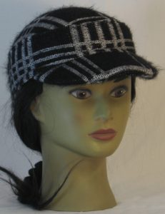Military Patrol Cap in White Black Grid Plaid Sweater Knit - front