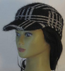 Military Patrol Cap in White Black Grid Plaid Sweater Knit - left front