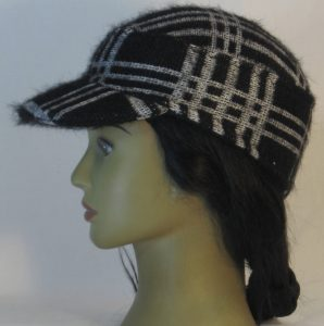 Military Patrol Cap in White Black Grid Plaid Sweater Knit - left
