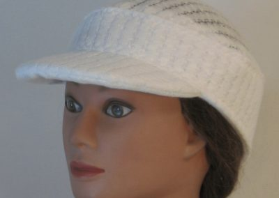 Military Patrol Cap in White Drop Needle Checkerboard Jersey Sweater Knit - front left