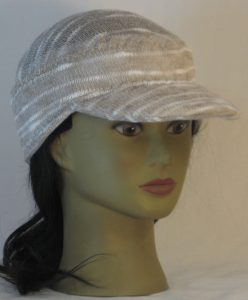 Military Patrol Cap in Khaki Cream Variegated Sweater Knit - right