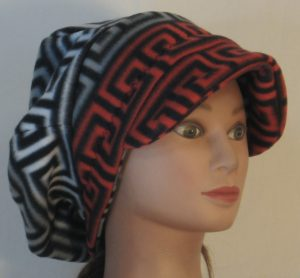 Newsboy in Red Black and White Black Gray Squared Spiral - front right