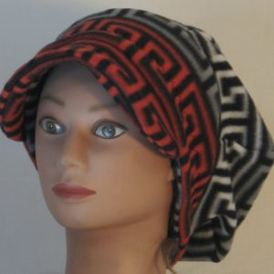 Newsboy in Red Black and White Black Gray Squared Spiral - front