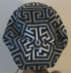 Newsboy in Red Black and White Black Gray Squared Spiral - back