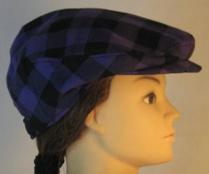 Ivy Flat Cap in Purple Black Big Check Flannel - right