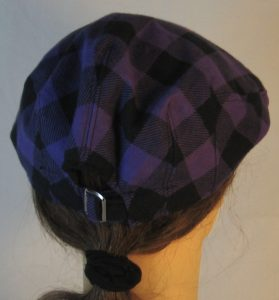 Ivy Flat Cap in Purple Black Big Check Flannel - back
