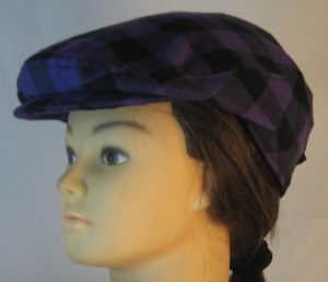 Ivy Flat Cap in Purple Black Big Check Flannel - left