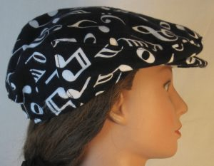 Ivy Flat Cap in White Music Notes Clef Signs on Black Flannel - right