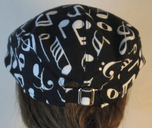 Ivy Flat Cap in White Music Notes Clef Signs on Black Flannel - back