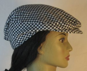 Ivy Flat Cap in Black White Check Flannel - right