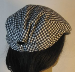 Ivy Flat Cap in Black White Check Flannel - back
